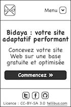 Maquette pour mobile : menu caché