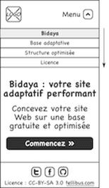 Maquette pour mobile : menu déroulé