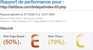 Evaluation de la performance par GTmetrix